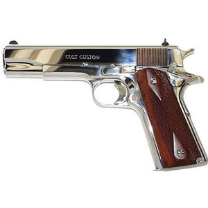 """Colt 1911 Government Bright Stainless .45 ACP Semi Auto Pistol 5"""" Barrel 7 Rounds White Dot Sights"""