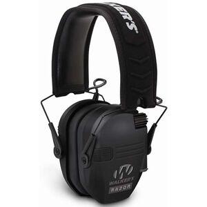 Walker's Game Ear Razor Series Electronic Folding Earmuffs -23dB NRR Padded Headband Soft PVC Earpads Matte Black Finish GWP-RSEM