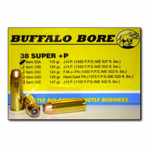 Buffalo Bore .38 Super +P Ammunition 20 Rounds JHP 115 Grains 33A/20