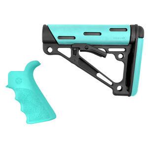 Hogue AR-15 Pistol Grip/Carbine Collapsible Buttstock Commercial Spec Compatible Overmolded Rubber Black/Aqua Finish