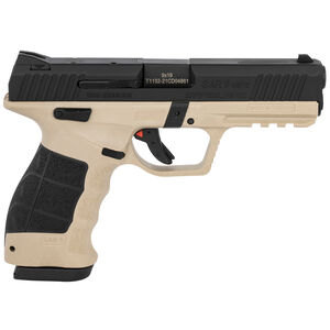 "Sarsilmaz USA SAR 9 Mete Safari Semi Auto Pistol 9mm Luger 4.4"" Barrel 17 Rounds Fixed Sights Striker Fired Accessory Rail Polymer Frame FDE/Black Finish"