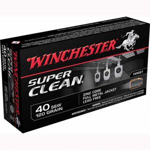 Winchester Super Clean .40 S&W Ammunition 500 Rounds, Lead Free FMJ, 120 Grain