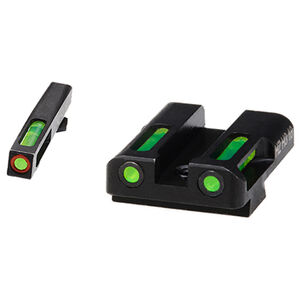 HiViz Litewave H3 Tritium/Litepipe fits GLOCK 45ACP/.45GAP/10MM Auto Models Green Front Sight with Orange Front Ring/Green Rear Sight Steel Housing Matte Black