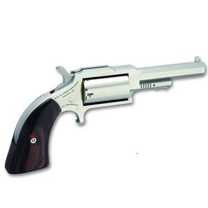 "NAA Sheriff Single Action Revolver .22 WMR 2.5"" Barrel 5 Rounds Wood Grips Stainless Finish"