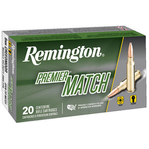 Remington Premier Match 6mm Creedmoor Ammunition 20 Rounds 115 Grain Barnes Open Tip Match Boat Tail Projectile