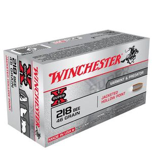 .218 Bee Winchester Super-X Rifle Cartridge 46 Grain Hollow Point Bullet 2760 fps 50 Rounds X218B