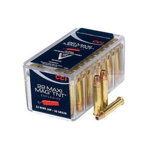 CCI Maxi-Mag TNT .22 WMR Ammunition 50 Rounds JHP 30 Grain 2,200 Feet Per Second