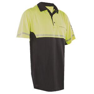 TruSpec  24-7 Mens Bike Performance Polo Shirt Small with Reflective Tape Hi-Vis Yellow
