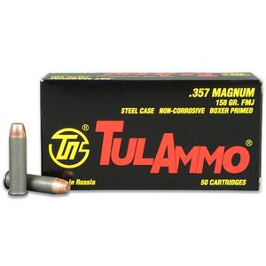 TulAmmo .357 Magnum Ammunition 50 Rounds FMJ 158 Grains TA357158