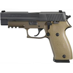 "SIG Sauer P220 Semi Automatic Handgun .45 ACP 4.4"" Barrel 10 Rounds SIGLITE Night Sites Two Tone Polymer Frame and Grips FDE Nitron Finish Slide Black 220-45-CP-DS"