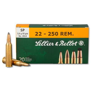 Sellier & Bellot .22-250 Remington Ammunition 20 Rounds SP 55 Grains SB22250B