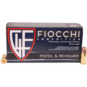 Fiocchi Pistol Shooting Dynamics 9mm Luger Ammunition 50 Rounds 100 Grain Lead Free Frangible Projectile 1300 fps