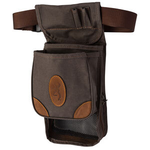 Browning Lona Canvas/Leather Deluxe Shell Pouch 8x17.5x5 Flint and Brown