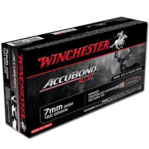 Winchester AccuBond 7mm Winchester Short Magnum Ammunition 20 Rounds 160 Grain Nosler AccuBond Polymer Tip Boat Tail Bullet 3050fps