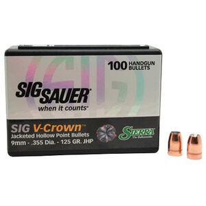 "Sierra V-Crown Bullet 9mm Caliber .355"" Diameter 125 Grain Jacketed Hollow Point Projectile 100 Count"