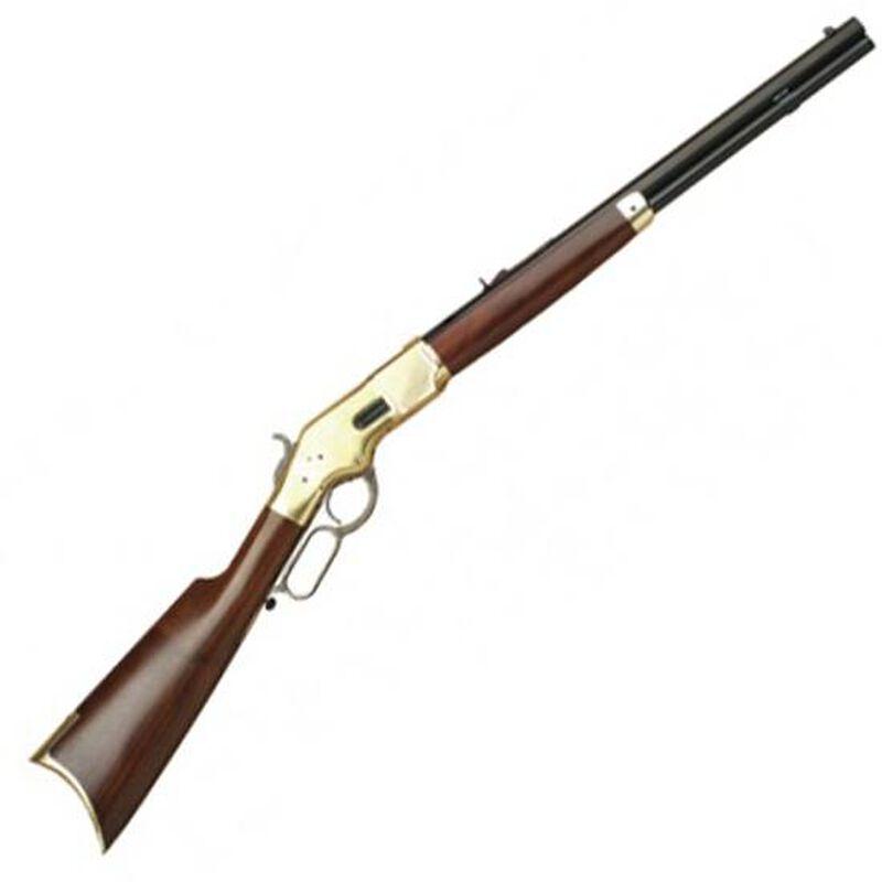 "Cimarron 1866 Yellowboy Short Rifle .45 Colt Lever Action Rifle 20"" Barrel 10 Rounds Brass Frame with Blue Finish"