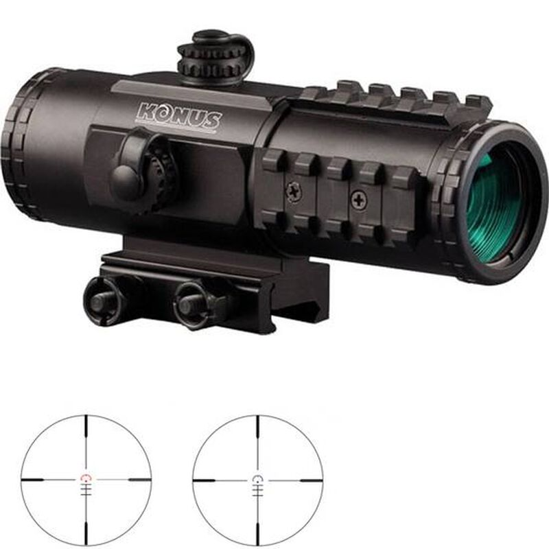 Konus Sight-Pro Pts2 3x30mm 3x30mm Sight-Pro Prismatic Tactical System with Red & Blue Reticle