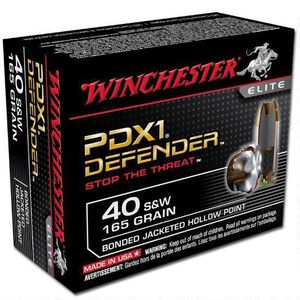 Winchester Defender .40 S&W Ammunition 200 Rounds, Bonded JHP, 165 Grain