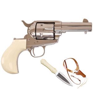 "Cimarron Doc Holliday Thunderer Combo Revolver 45 LC 3.5"" Barrel 6 Rounds Tru-Ivory Grips Nickel with Dagger and Shoulder Holster"