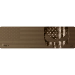 "Cerus Gear Reaper American Flag Magnum XXL ProMat Rifle Size 14""x48"" Synthetic Reaper Skull with US Flag on Coyote Tan Background"
