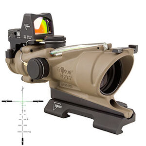 Trijicon ACOG 4x32 Scope with 3.25 MOA RMR Type 2 Dual Illuminated Green Crosshair .223 Ballistic Reticle Picatinny Mount Aluminum FDE