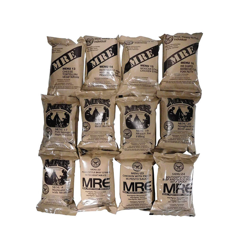 "U.S. Original Case 12 Menu ""B"" MRE Meals  2021 Inspection Date Menus 13-24,  NSN 8970-00-149-1094"