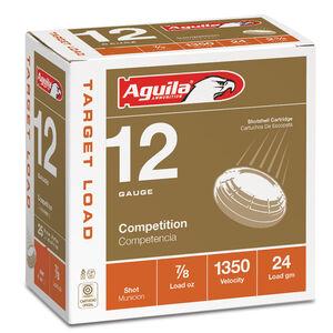 "Aguila International Competition 12 Gauge Ammunition 25 Rounds 2-3/4"" Length 7/8 Ounce #8 Shot 1350fps"