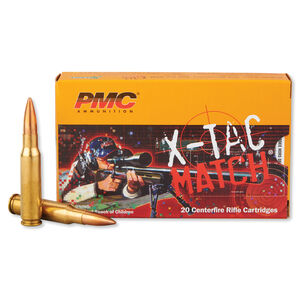 PMC X-Tac Match .308 Winchester Ammunition 20 Rounds 168 Grain Open Tip Match Projectile 2700fps