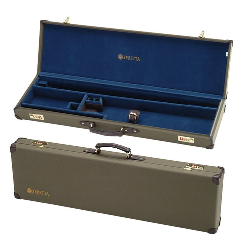 """Beretta Hard Canvas Case Standard Beretta O/U Shotguns Up to 32"""" Barrels Without Extended Chokes Installed Long Term Secure Storage Canvas/Leather Trim Loden SVPD204"""