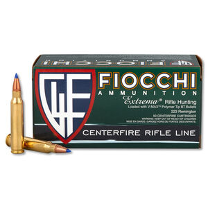 50 Rounds of Fiocchi Extrema .223 Rem Ammunition 40 Grain Hornady V-Max Polymer Tip BT 3650 fps