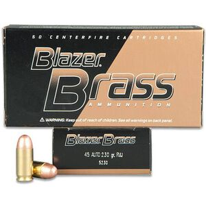 CCI Blazer Brass .45 ACP Ammunition 50 Rounds FMJ 230 Grains 5230