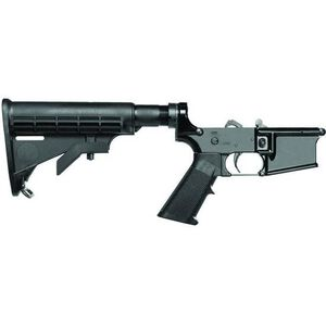 Del-Ton AR-15 Complete Forged Lower Receiver with A2 Grip and Six Position Collapsible Stock Aluminum Black LR102T
