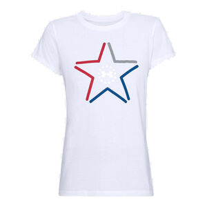 Under Armour Women's Freedom Star T-Shirt Size Small Cotton/Polyester Blend White