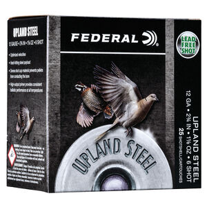 "Federal Upland Steel 12 Gauge Ammunition 25 Rounds 2-3/4"" #6 1-1/8 Ounce Steel Shot 1400 fps"