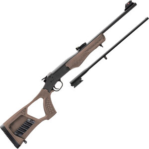 "Rossi Matched Pair Youth .22 LR/.410 Bore Single Shot Rifle/Shotgun Combo 22"" Barrel Tan Synthetic Stock Black Finish"
