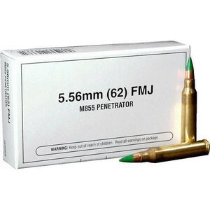 Winchester USA 5.56 NATO Ammunition 20 Rounds XM855 FMJ 62 Grains Q3269