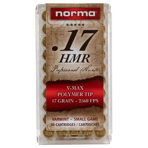 Norma USA Professional Hunter .17 HMR Ammunition 50 Rounds 17 Grain Hornady V-Max