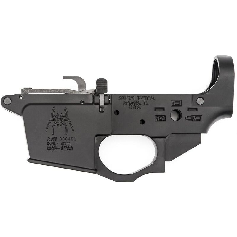 Spike's Tactical AR-15 9mm Luger Stripped Lower Receiver GLOCK Mag Well Spider Logo Forged Aluminum Black Anodized