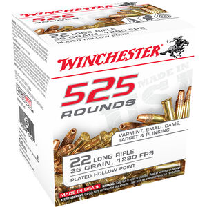 Winchester .22LR Ammunition 36 Grain Copper Plated Hollow Point 1280 fps 525 Rounds
