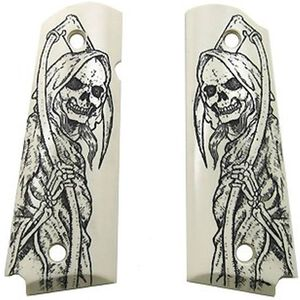 Hogue Scrimshaw Grip Panels 1911 Full Size Grim Reaper Polymer White 45029