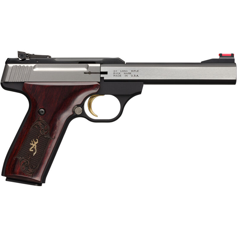 """Browning Buck Mark Medallion .22 LR Semi Auto Rimfire Pistol 5.5"""" Barrel 10 Rounds FO Front Sight Rosewood Checkered and Engraved Grips Silver/Matte Black Finish"""