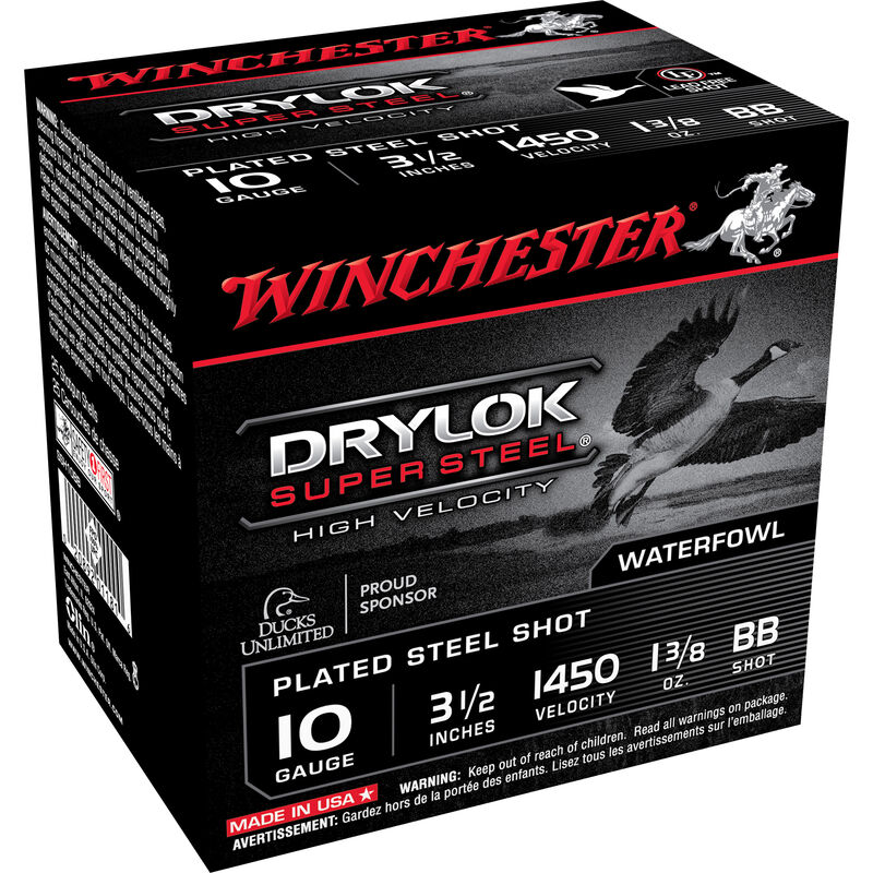 "Winchester Drylok Super Steel High Velocity 10 Gauge BB Plated Steel Shot, 3-1/2"" Shell, 1-3/8 Ounce Shot, 1450 fps, 25 Round Box SSH10BB"