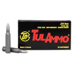 TulAmmo .223 Remington Ammunition 20 Rounds 55 Grain Zinc FMJ 3241fps