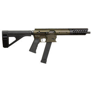 "TNW Aero Survival Pistol 9mm Luger Semi Auto Pistol 10.25"" Barrel 33 Rounds GLOCK Style Magazine Free Float Hand Guard Pistol Stabilizing Brace Olive Drab Green"
