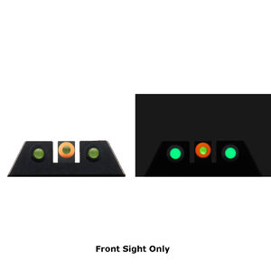 Night Fision Glow Dome Tritium Night Sight Front Sight Fits SIG Sauer P-Series Models With #8 Front Sight Green Tritium/Orange Ring Metal Body Black Finish
