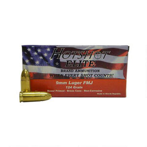 Hotshot Elite 9mm Luger Ammunition 50 Rounds, FMJ, 124 Grains