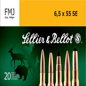 Sellier & Bellot 6.5×55mm Swedish Ammunition 20 Rounds, FMJ, 140 Grains