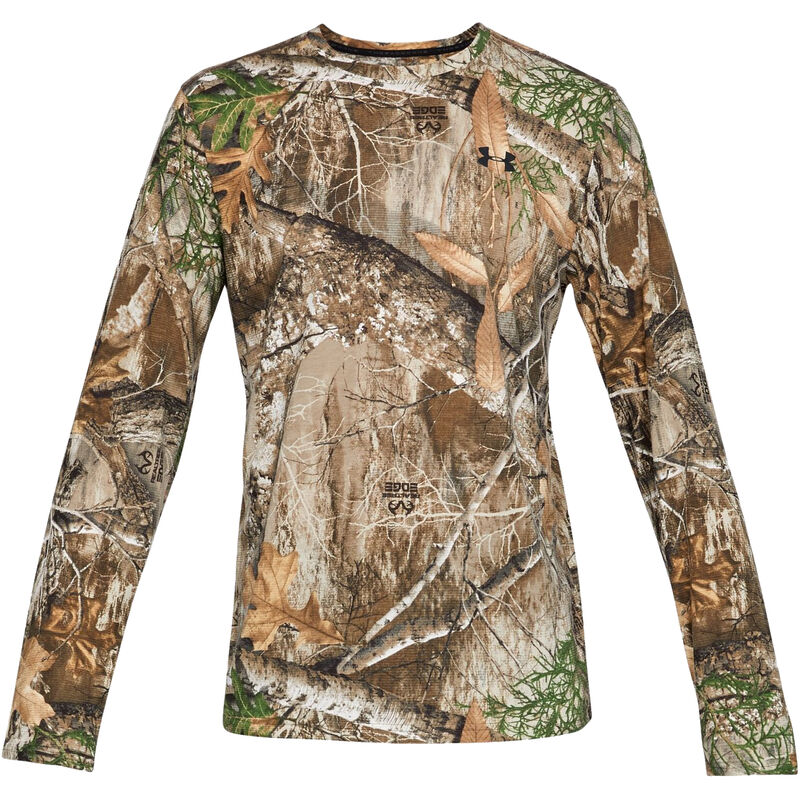 Under Armour Threadborne Early Season Men's Long Sleeve T-Shirt Microthread Polyester/Elastarell Fabric Moisture Wicking Realtree Edge Camo