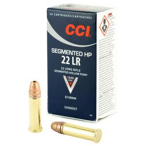 CCI Varmint .22 Long Rifle Ammunition 50 Rounds Segmented Hollow Point 32 Grains 0064