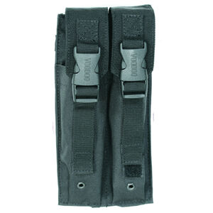 Voodoo Tactical 9mm MP5/SMG Double Magazine Pouch Buckle Closure Flap MOLLE Webbing Compatible Nylon Black
